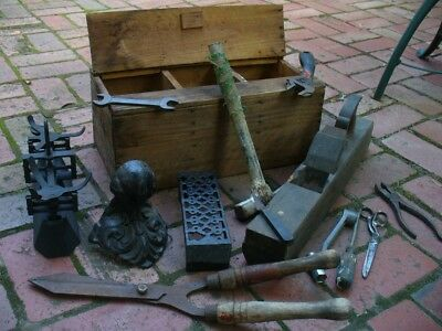 Vintage Wooden Tool Box & Old Tools Etc