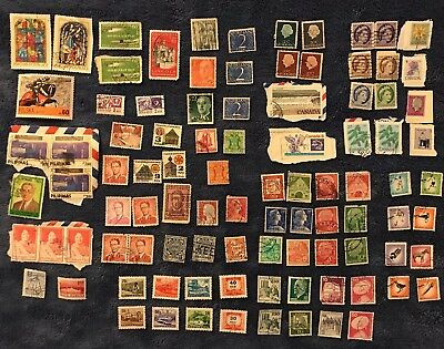 Vintage 95 Stamps 19 COUNTRIES Used Lot Germany Bahrain Russia Canada Columbia