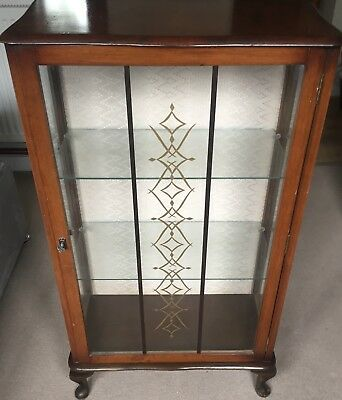 antique glass display cabinet / Case C/w Working Lock & Key - 100% Charity
