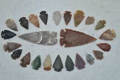 "24 PC Flint Arrowhead Ohio Collection Points 2-3"" Spear Bow Knife Hunting Blade"