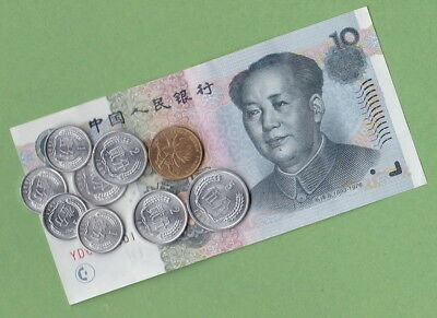 CHINA Banknotes & Coins:10 Yuan Banknote,5 JIAO & Coins a/UNC: travel/collectors