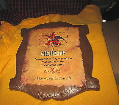 "Vintage Plastic Michelob Beer Sign 16.5""x 14"" Anheuser Busch Breweriana"