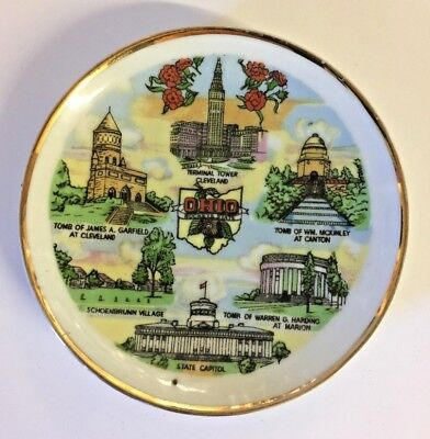 Vintage 1970 OHIO Souvenir Dish Travel Buckeye State Capital Terminal Tower Trip