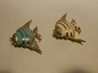 Vintage Pair Of Goldtone Angle Fish With 1- Lt Blue And 1- White Enamel