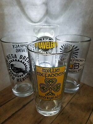 Lakefront, Traveler, McFaooen, and Taos Mesa Lot of 4 1 Pint Brewery Glasses