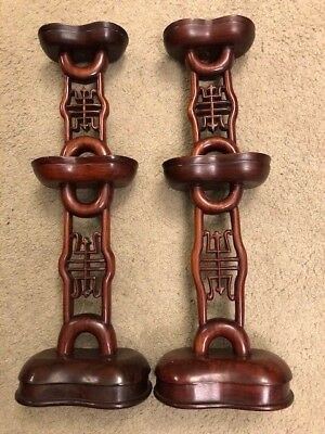 Antique Chinese Symbol Hardwood Statues Two (2)