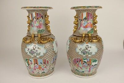 Amazing Perfect Pair of Chinese Porcelain Canton Vases, 44 cm hight, figures.