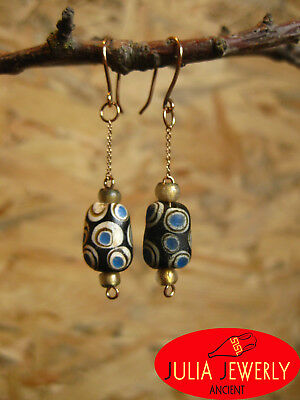 1)Exclusive! Gold (14k) earrings  (37mm) with Ancient Glass Eye Beads.