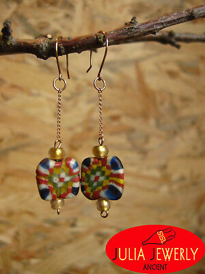 Exclusive! Gold (14k) earrings (43mm) with Ancient Mosaic Glass Beads.