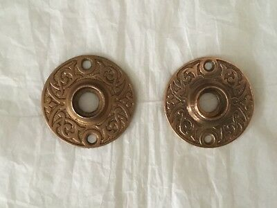 Antique Solid Brass 1880's East Lake Style Door Knob Rosettes/Set of 2