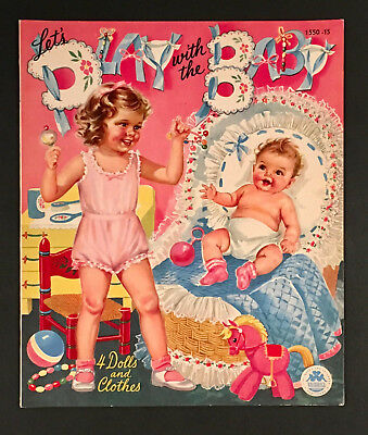 """let's Play With The Baby"" 1948 Merrill Uncut Paper Dolls Vintage"