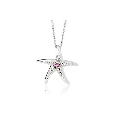 "NEW Official Clogau Silver & Rose Gold Starfish Amethyst Pendant (22"") £20 off!"