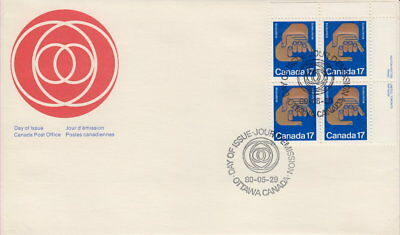 Canada #856 17¢ Helping Hands Ur Plate Block First Day Cover