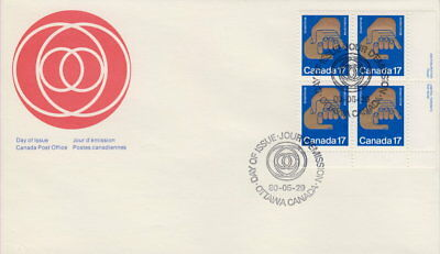 Canada #856 17¢ Helping Hands Lr Plate Block First Day Cover