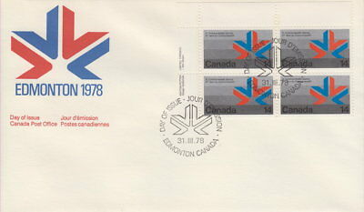 Canada #757 14¢ Commonwealth Games Ul Plate Block First Day Cover
