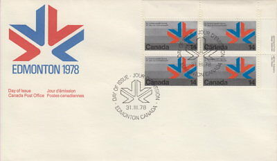 Canada #757 14¢ Commonwealth Games Ur Plate Block First Day Cover