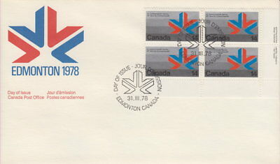 Canada #757 14¢ Commonwealth Games Lr Plate Block First Day Cover
