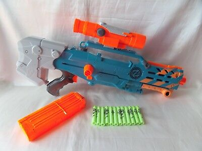 Nerf Zombie Strike Zed Squad Longshot Cs-12 Zombie Darts & Sight Great Lot L@@k