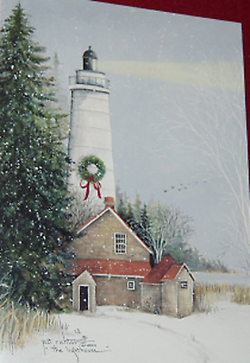 18 Christmas Cards Lighthouse Shining with Out Buildings Snow