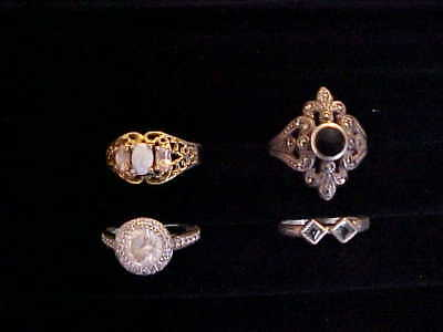 Lot Of 4 Ladies Vintage Sterling Silver Rings Size 7 #2