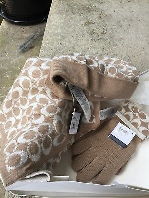 Coach Camel Signature Hat, Scarf, Gloves Set New w/ Tags