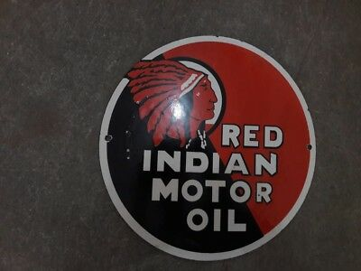 Porcelain Red Indian Enamel Sign Size 12""