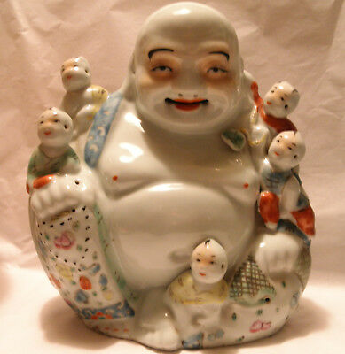 Good Chinese Famille Rose Laughing Buddha And Boys Porcelain Figurine