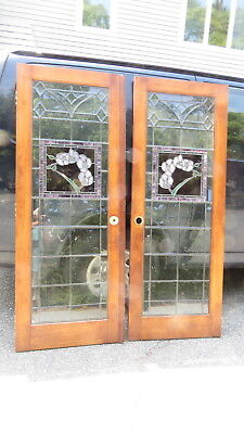 Pair of  Library wood  doors  with  leaded   floral  work