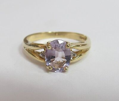Vintage 10K Gold Natural Amethyst And Diamond Ring 1.00 Cts