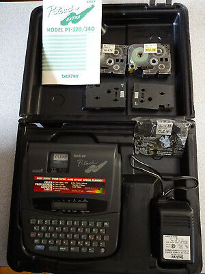 Brother P-Touch Label Maker Model PT-320 with Case,Tape,Adapter,Book  Excellent