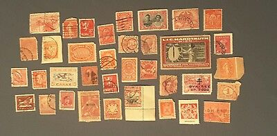 Beautiful Set Lot Of Antique And Vintage Red Stamps