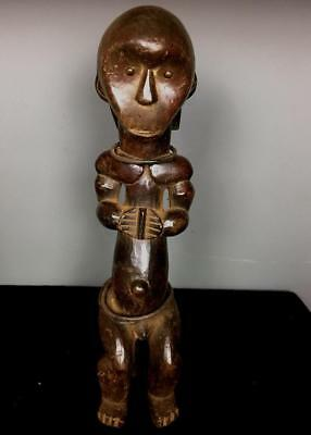 Old  Tribal Large  Fang Seated Reliquary   Figure           --- Gabon