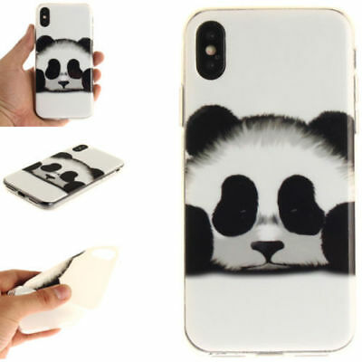 Cartoon Panda Case Ultra Thin Patterned Rubber Silicone TPU Case For iPhone X
