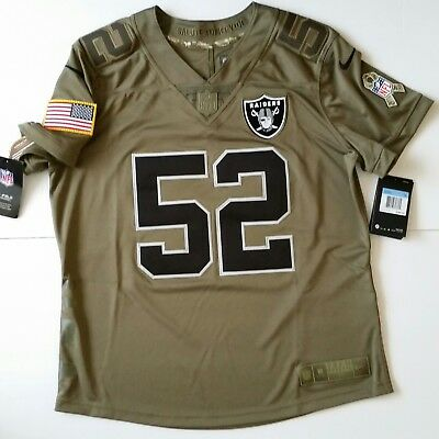 huge discount f39f5 242b9 NIKE NFL OAKLAND Raiders Jersey Salute Service Olive Mack 1st Team NWT$160