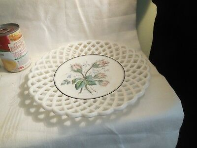 Challinor-Taylor Basket Weave Decorative Plate Moss Roses Transfer