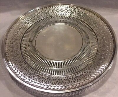"""Antique Wilcox & Wagoner Sterling Silver Pierced 8 1/2""""Round Tray#5733 211gms"""