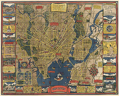 1928 Pictorial Map New Haven Connecticut Yale Hictoric Vintage Wall Art Poster