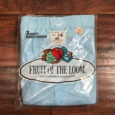 Vintage 70S Nos Fruit Of The Loom Baby Blue Boxer Shorts Size 38 3 Pack Usa