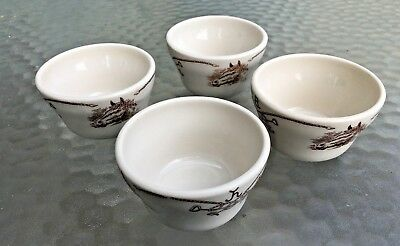 Lot of  4 Vintage  Shenango China Round Up Cowboy 4 Soup Cups Bowls