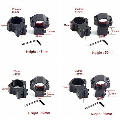 9.5-11mm Dovetail rail 25 Rifle scope mounts 30mm rings High or Low profile