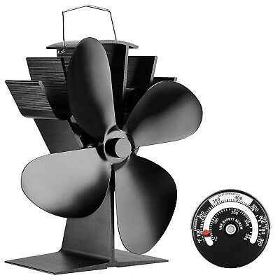 Sonyabecca Heat Powered Stove Fan with Magnetic Thermometer 4 Blade Wood Stov...