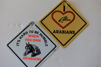 Suction Cup Window Placards / Signs - Arabian Horses- lot of 2, plastic