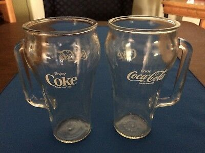 2 Vtg. Coca-Cola Clear Glass Drinking Glasses/mugs W/handles & White Lettering(: