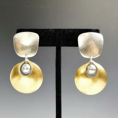 Marjorie Baer Tapered Square Disc Mother-of-Pearl Cabochon Clip or Post Earrings