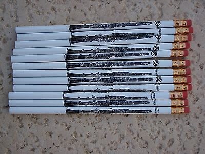 """1 Dz CLARINET Music Pencils 7.5"""" White with Black Clarinets Great MUSIC Gift NEW"""