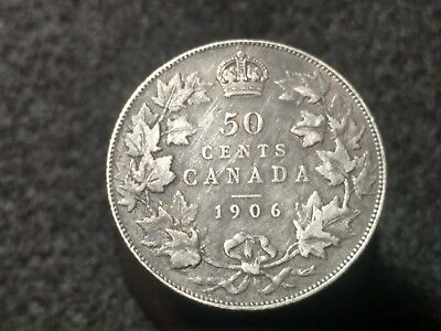 1906 Canada 50 Cents Silver Coin (92.5%) sterling silver half dollar