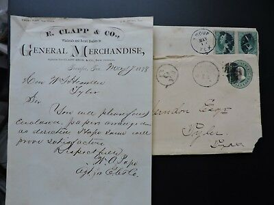 1870s TEXAS COVERS +LETTER CONFEDERATE CAPTAIN HERNDON ! TROUP +TYLER +DUE 3 +!!