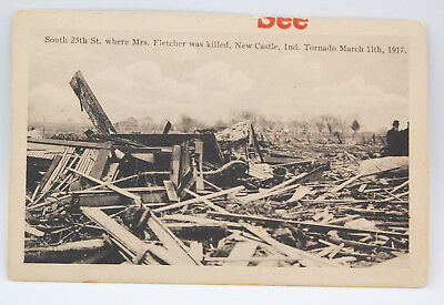 RPPC Postcard Of Tornado Damage In New Castle Indiana, March 11, 1917 - Fatality