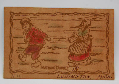 Vintage Leather Postcard Ludington Michigan Children With Wooden Shoes