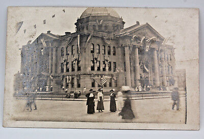 RPPC Patriotic Street View Court House American Flags Vintage Dress